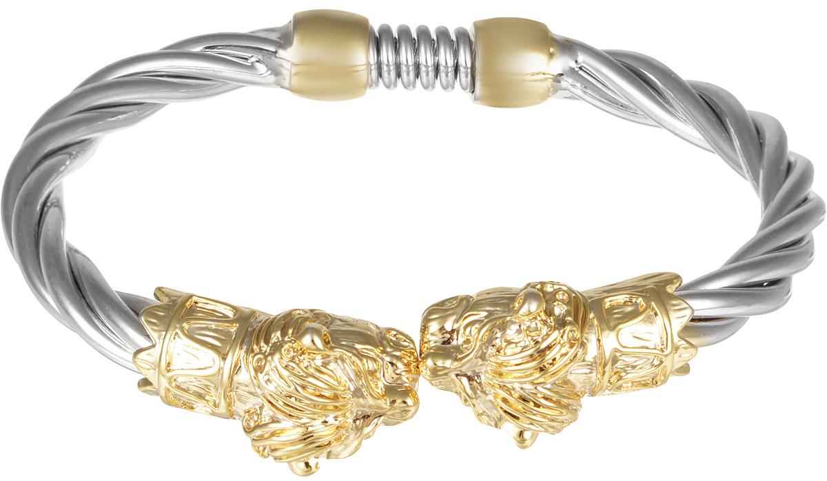 Браслет Taya, цвет: серебристый, золотистый. T-B-7054T-B-7054Изящный витой браслет Taya выполнен из металлического сплава с покрытием под серебро и золото. Изделие украшено декоративными элементами в виде львиных голов. Застегивается на пружинный замок. Такой оригинальный браслет не оставит равнодушной ни одну любительницу изысканных и необычных украшений, а также дополнит повседневный или праздничный образ, подчеркнув достоинства женской ручки.