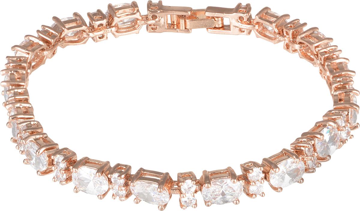 Браслет Fashion House, цвет: золотой, белый. FH32826FH32826Роскошный браслет Fashion House, изготовленный из гипоаллергенного материала, не оставит равнодушной ни одну любительницу изысканных и необычных украшений. Тонкий изящный браслет, состоящий из металлических звеньев с покрытием под золото, инкрустирован стразами. Изделие застегивается на замок-пряжку. Такой оригинальный браслет позволит с легкостью воплотить самую смелую фантазию и создать собственный, неповторимый образ.