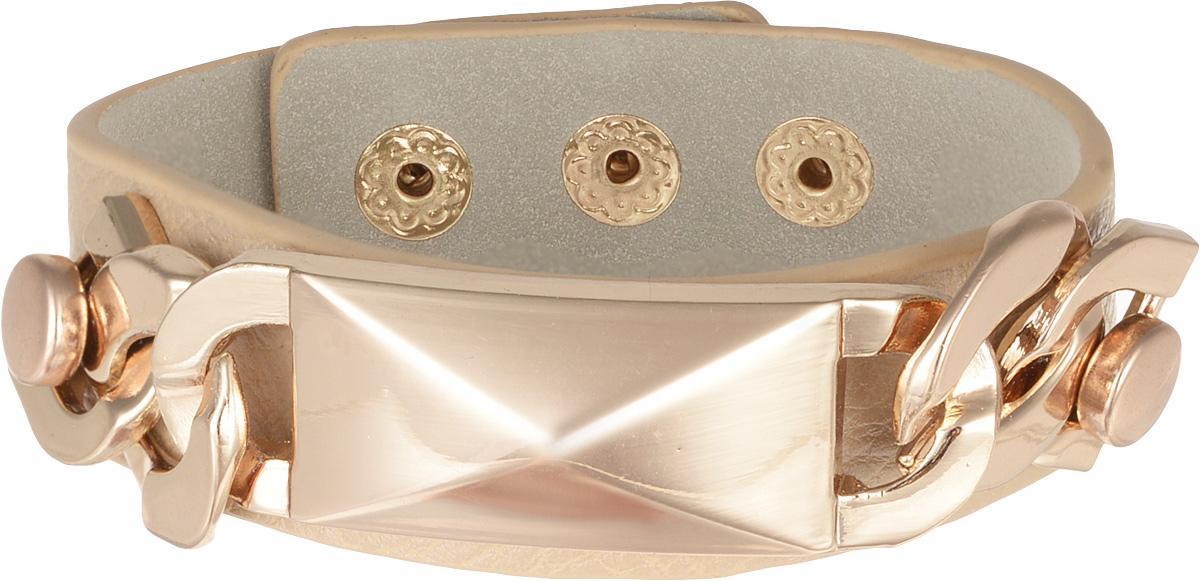 Браслет Taya, цвет: бежевый. T-B-7976T-B-7976-BRAC-L.BROWNОригинальный браслет Taya выполнен в виде основы из искусственной кожи с зернистой фактурой, которая оформлена оригинальным элементом из металлического сплава. Изделие застегивается на кнопку, длина регулируется за счет дополнительных кнопок. Стильный браслет придаст вашему образу изюминку, подчеркнет красоту и изящество вечернего платья или преобразит повседневный наряд.