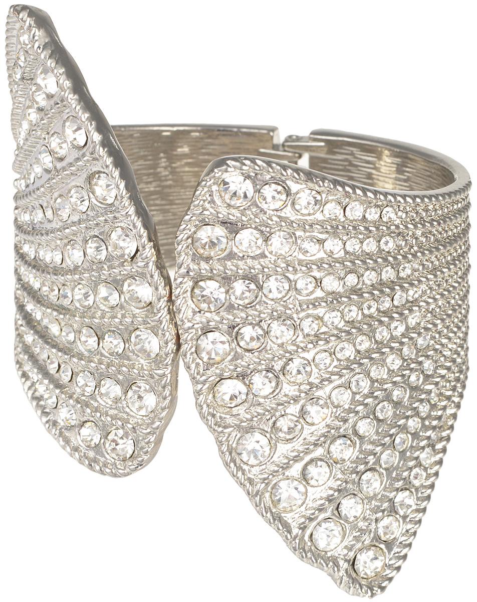 Браслет женский Taya, цвет: серебро. T-B-7058-BRAC-SILVERT-B-7058-BRAC-SILVERКрупный изогнутый браслет с продольными полосками страз впереди и шарнирным замком сзади. Размеры: объем 20,5 см, ширина от 2,2 см до 6,5 см.