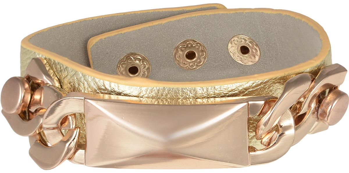 Браслет Taya, цвет: золотистый. T-B-7975T-B-7975Стильный браслет Taya выполнен из искусственной кожи. Модель оформлена оригинальным декоративным элементом из ювелирного сплава с покрытием под золото. Изделие застегивается на кнопки, с помощью которых можно регулировать объем. Такой оригинальный браслет не оставит равнодушной ни одну любительницу изысканных и необычных украшений, а также позволит с легкостью воплотить самую смелую фантазию и создать собственный, неповторимый образ.