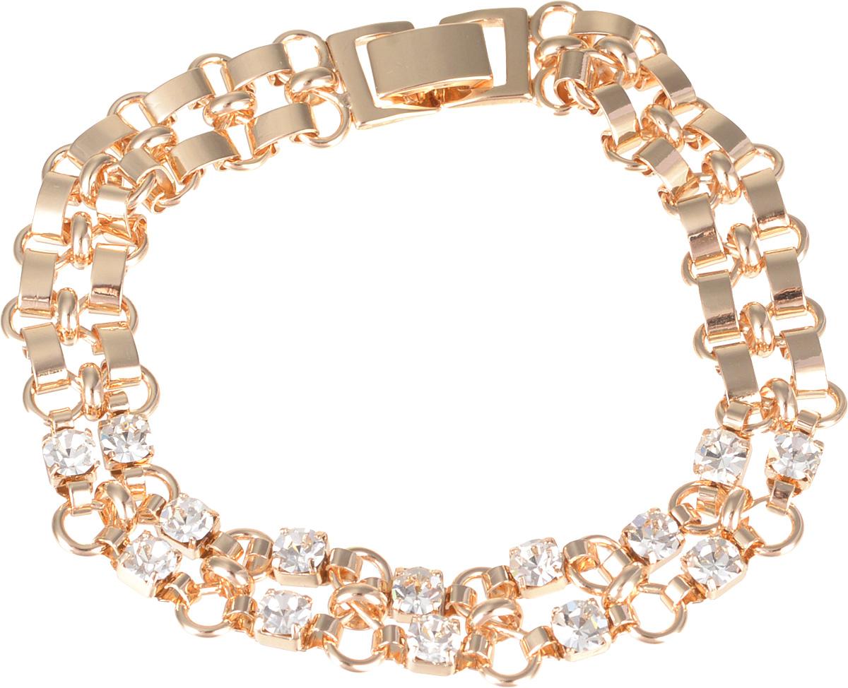 Браслет Fashion House, цвет: золотистый. FH32695FH32695Роскошный браслет Fashion House выполнен из металла и оформлен стразами. Застегивается браслет на складной замок. Такое украшение позволит вам создать собственный, неповторимый образ.