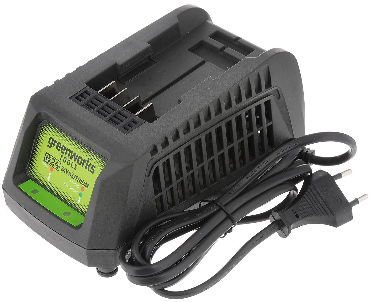 Устройство зарядное GreenWorks, цвет: темно-серый, 24В2903607Зарядное устройство GreenWorks предназначено для зарядки литий-ионного аккумулятора емкостью 2 Ач и 4 Ач. Данная модель обладает индикатором уровня заряда и системой защиты от перезаряда аккумулятора - автоматическое отключение питания при достижении 100% заряда. Корпус имеет компактный дизайн для удобства хранения, снабжен перфорацией для защиты от перегрева и прорезиненными ножками для устойчивости на плоскости, а так же проушиной для крепления на стену. Напряжение: 24В. Вес: 0,5 кг. Время зарядки аккумулятора 2 Ач: 45 минут. Время зарядки аккумулятора 4 Ач: 90 минут.