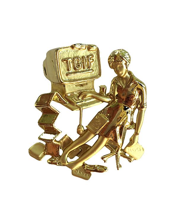 Винтажная брошь Я люблю свою работу от AJC. Ювелирный сплав золотого тона. США, 1980-е годыНПО1608-18Винтажная брошь Я люблю свою работу от AJC. Ювелирный сплав золотого тона. США, 1980-е годы. Размер 4 х 5 см. Сохранность очень хорошая. Брошь маркирована AJC.