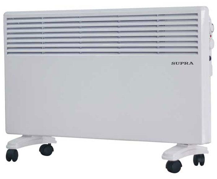 Supra ECS-410, White обогревательECS-410 whiteSupra ECS-410 - это электрический обогреватель конвективного типа. Холодный воздух, проходя через прибор и его нагревательный элемент, нагревается и выходит сквозь решетки-жалюзи, незамедлительно начиная обогревать помещение. Вся конструкция Supra ECS-410 направлена на равномерное распределение тепла для обогрева с максимальным комфортом. Бесшумная работа. В комплекте монтажная планка для настенного крепления и колёсики для напольного размещения и удобного перемещения.