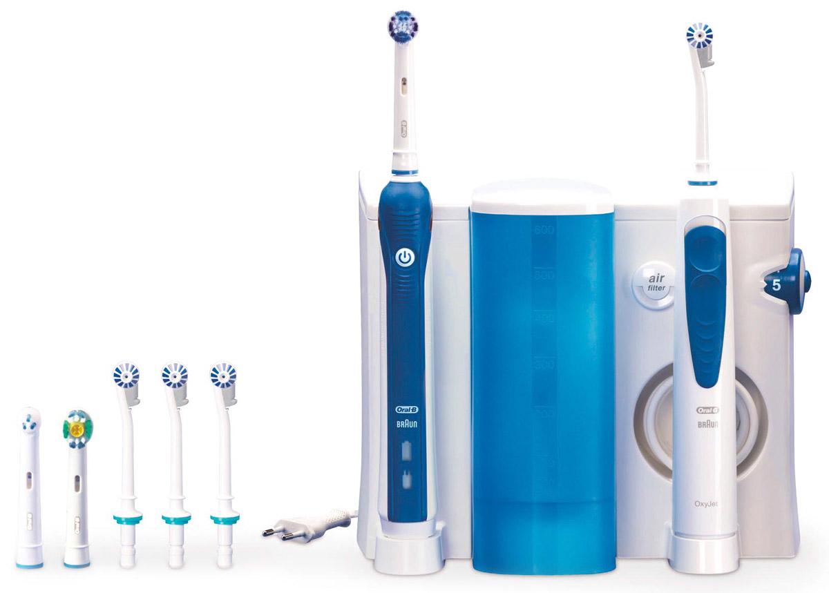 Oral-B Professional Care OxyJet OC-20.535.3Х зубной центр4210201377818До 100% больше удаления налета с 3D технологией по сравнению с обычной зубной щеткой. Профессиональное оборудование для чистки полости рта у вас в ванной! Зубной центр Oral-B – это ирригатор Oral-B OxyJet + электрическая зубная щетка Oral-B Professional Care 3000, а также набор насадок в комплекте. Ирригатор – это гидромассажер для очищения полости рта струей воды, который позволяет качественно удалять остатки пищи из межзубного пространства, а также бережно массировать дёсны и слизистую полости рта. Зачастую труднодоступные участки и межзубное пространство, составляющие большую часть полости рта, остаются плохо очищенными. Это влечёт за собой не только появление неприятного запаха изо рта, изменения цвета эмали, но и более серьезных проблем. Применение для гигиены полости рта ирригатора Oral-B Professional Care OxyJet помогает максимально эффективно проводить профилактику возможных проблем. Процентное соотношение воды и воздуха в ...