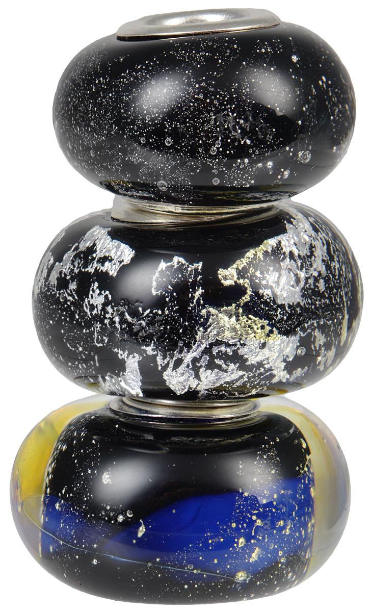 Европейские бусины Персеиды, 3 штуки, цвет: черный, синий, серебряный. Ручная авторская работа. PDD004