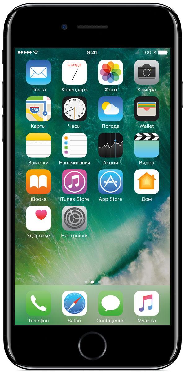 Apple iPhone 7 128GB, Jet BlackMN962RU/AiPhone 7 оснащен великолепной камерой, которая позволяет делать невероятные снимки. Этот телефон обладает высокой производительностью и самым долговечным аккумулятором среди всех моделей iPhone, великолепными стереодинамиками, системой широкой цветопередачи от камеры на экран. Для iPhone 7 доступны два новых великолепных цвета корпуса, а также обеспечивается защита от воды и пыли. В iPhone 7 встроена самая популярная в мире камера. Благодаря совершенно новым функциям она стала ещё лучше. 12-мегапиксельная камера в iPhone 7 оснащена системой оптической стабилизации изображения, обладает высокой светосилой f/1.8 и 6-элементным объективом для съёмки ярких фотографий и видео с высоким разрешением. Расширенный цветовой диапазон позволяет фиксировать яркие цвета во всех деталях. Другие усовершенствования камеры Новый процессор обработки сигнала изображения, созданный Apple, выполняет более 100 миллиардов операций на одной фотографии всего за 25 миллисекунд. Это...