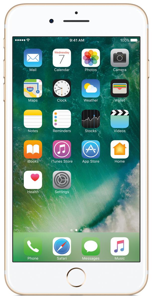 Apple iPhone 7 Plus 32GB, GoldMNQP2RU/AiPhone 7 Plus оснащен передовыми камерами, которые позволяют делать невероятные снимки, увеличенной производительностью и самым долговечным аккумулятором среди всех iPhone, великолепными стереодинамиками, системой широкой цветопередачи от камеры к дисплею, доступны в двух новых великолепных цветах, а также впервые на iPhone - защита от воды и пыли. В iPhone 7 Plus встроена самая популярная в мире камера. Благодаря совершенно новым функциям она стала ещё лучше. 12-мегапиксельная камера в iPhone 7 Plus оснащена системой оптической стабилизации изображения, обладает расширенной диафрагмой f/1.8 и 6-элементным объективом для съёмки ещё более ярких и детальных фотографий и видео. Расширенный цветовой диапазон позволяет фиксировать яркие цвета во всех деталях. В iPhone 7 Plus встроена такая же 12-мегапиксельная широкоугольная камера, как в iPhone 7, а также камера с телеобъективом. Вместе они обеспечивают 2-кратный оптический зум и 10-кратный цифровой зум при...