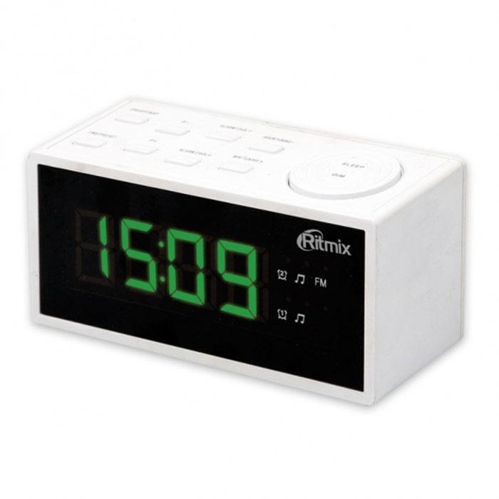 Ritmix RRC-1212, White радиобудильникRRC-1212 WHITERitmix RRC-1212 - это компактные FM-радиочасы с функцией будильника. Встроенный дисплей имеет большие яркие цифры высотой 3 см. Модель удобна и проста в управлении и имеет множество полезных функций: несколько будильников с возможностью повтора, таймер выключения, настройка 20 радиостанций и регулировка подсветки. Длина кабеля: 1,4 м