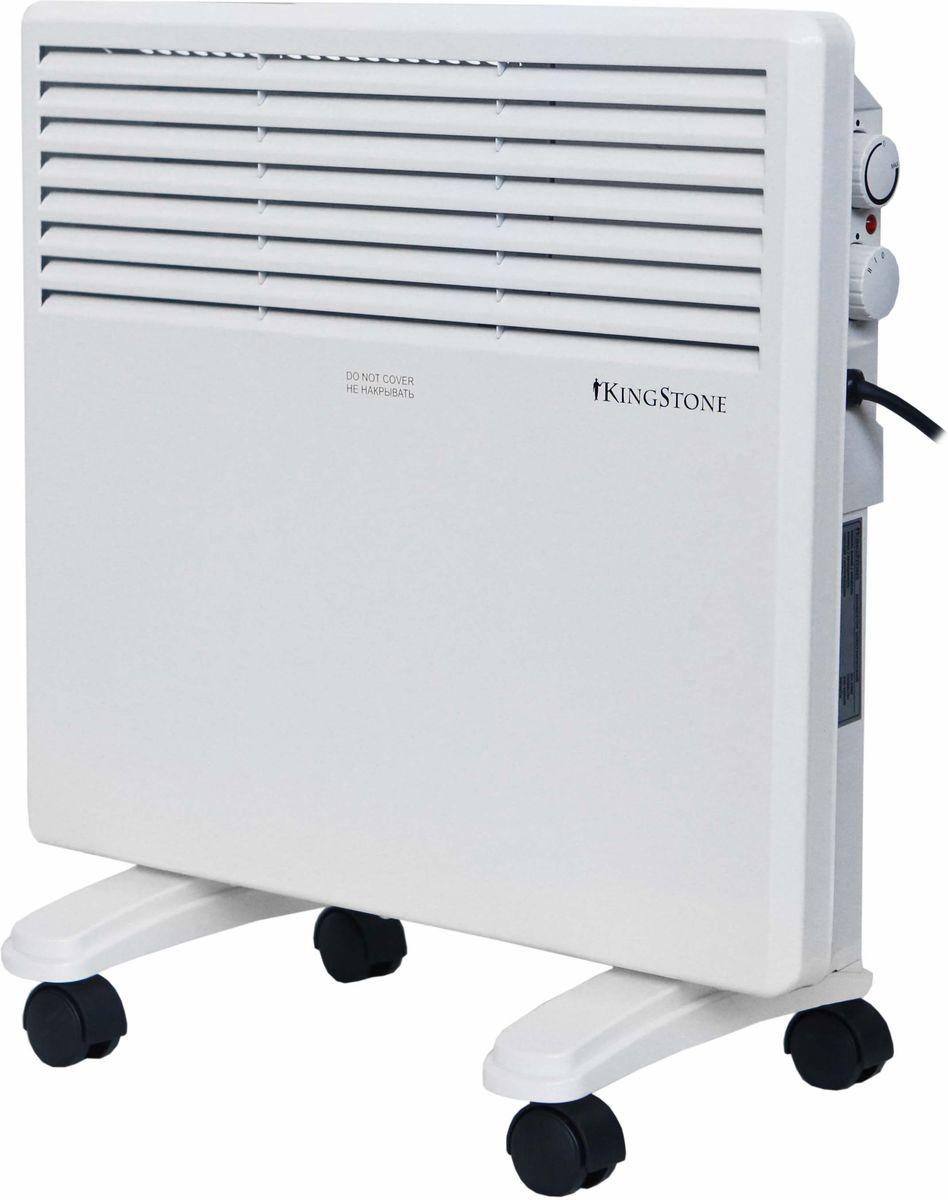 КingStone KH-1000 конвектор электрическийКingStone KH-1000Электрический конвектор КingStone KH-1000 - это современный, надежный, мобильный и экономичный обогреватель. Работа конвектора КingStone KH-1000 основана на принципе естественной конвекции: холодный воздух поступает внутрь обогревателя через отверстие в нижней части и, проходя через нагревательный элемент, уже нагретый воздух выходит через жалюзи, расположенные на передней панели обогревателя. Современный внешний вид позволяет гармонично вписать конвектор в любой интерьер. br>С влагостойким исполнением корпуса прибора IPX4 прибор можно использовать в помещениях с повышенной влажностью и обилием брызг Удобная в эксплуатации, интуитивно понятная панель управления облегчает использование прибора
