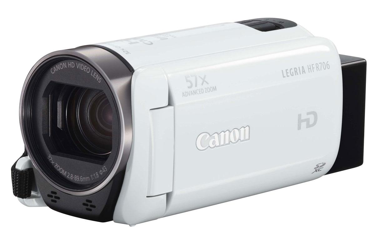 Canon LEGRIA HF R706, White цифровая видеокамера1238C004Удобная в использовании, легкая и компактная видеокамера Canon LEGRIA HF R706 с интуитивно понятным сенсорным экраном идеально подходит для записи семейного видео благодаря мощным технологиям, которые автоматически улучшают качество изображения. Оцените простоту и удобство съемки благодаря легкому, компактному корпусу, а также простое, интуитивно понятное управление касанием пальцев благодаря большому, яркому сенсорному экрану 7,5 см емкостного типа. Записывайте видео на карту памяти FlashAir для удобного беспроводного подключения и передачи на смартфон или планшет. Множество мощных технологий позволяют создавать видео Full HD потрясающего качества, что бы вы ни снимали. К ним относятся: большой усовершенствованный зум-объектив 57x для съемки с больших расстояний, функция автоматической помощи в кадрировке при зумировании, чтобы удерживать объект в кадре, а также система интеллектуальной стабилизации изображения для компенсации дрожания камеры и...