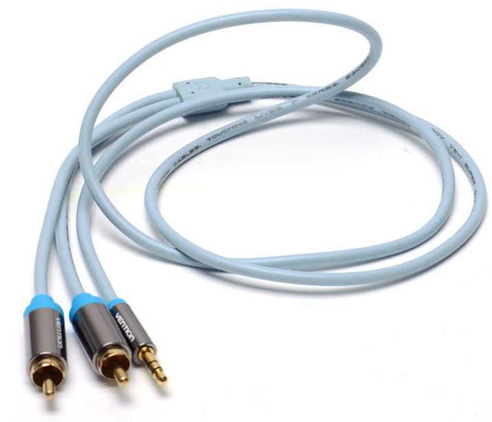 Vention P550AC150-S Jack 3,5 mm M/2RCA M, Grey аудиокабель (1,5 м)P550AC150-SАудиокабель Vention P550AC150-S Jack 3,5 mm M/2RCA M, Grey предназначен для передачи аналоговых стереозвуковых сигналов между аудио, аудио-видео и (или) компьютерными устройствами или их компонентами. Вы можете подключить компьютер (ноутбук), MP3-плеер, или смартфон, к например гарнитуре, активным акустическим системам и прочей мультимедийной технике. Продукция соответствует следующим сертификатам: RoHS, CE, FCC, TIA, ISO
