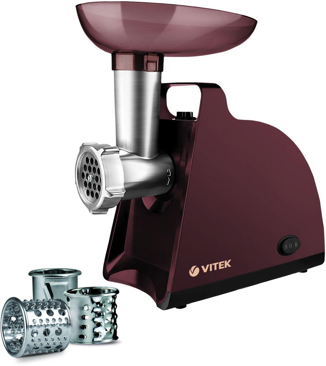 Vitek VT-3613(BN) мясорубкаVT-3613(BN)Мясорубка Vitek VT-3613 незаменимая вещь на кухне у каждой хозяйки. Защита двигателя от перегрузки делает устройство надежным и безопасным. Практичность мясорубки обеспечивается благодаря наличию многочисленных насадок. Прорезиненные ножки обеспечивают устойчивость и сохранность прибора. Мясорубка Vitek VT-3613 обладает актуальным дизайном и хорошо подойдет к интерьеру современного кухонного помещения.