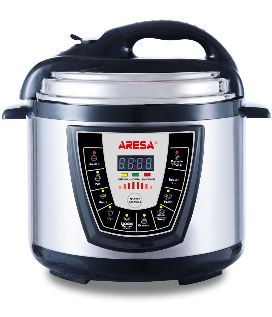 Aresa AR-2003 мультиварка-скороваркаAR-2003Мультиварка Aresa AR-2003 имеет светодиодный LED-дисплей и вместительную чашу объемом 5 литров с керамическим покрытием. Прочный корпус изготовлен из нержавеющей стали. Имеется встроенный датчик контроля температуры и клапан сброса избыточного давления. Множество различных функций и режимов приготовления позволит готовить именно те блюда, которые вам нравятся. Регулировка времени приготовления и функция отложенного старта позволит с большой точностью рассчитывать продолжительность готовки. Доступна установка таймера до 24 часов. В комплект входят полезные аксессуары для приготовления пищи, а книгу рецептов можно бесплатно скачать с сайта производителя.