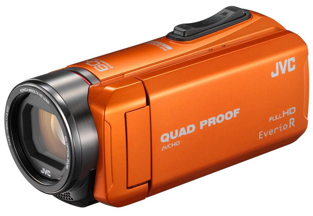 JVC GZ-R415, Orange цифровая видеокамераGZ-R415DEUJVC GZ-R415 - всепогодная видеокамера с технологией Quad-Proof, обеспечивающей устойчивость к падениям, защиту от брызг, дождя и снега, а также с аккумулятором, работающим без подзарядки до 5 часов подряд. Видеокамера оснащена CMOS матрицей с обратной подсветкой, оптическим зумом 40х и улучшенной стабилизацией изображения. Осуществление записи при закрытом дисплее и резьба под фильтр 37 мм, помогут осуществить все творческие задумки. Также для JVC GZ-R415 характерна высокая скорость записи цифрового потока (24 Мбит/с). Данная модель водонепроницаема при погружении на глубину до 5 м. После активного дня, проведённого на свежем воздухе, её можно вымыть под проточной водой. Прочный корпус выдерживает падение с высоты до 1,5 м. Он защищён от влаги и пыли и рассчитан на работу в широком диапазоне температур. Аккумулятор встроен внутрь корпуса, что обеспечивает ещё более высокую защиту от влаги и позволяет существенно сократить опасность повреждения...
