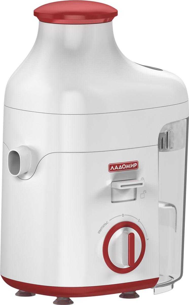 Ладомир 16, Red соковыжималка16 арт. 1Элегантная соковыжималка Ладомир 16 станет отличным приобретением для тех, кто любит вкусные и натуральные соки, полезные для здоровья. Соковыжималка Ладомир 16 обладает отличной производительностью 400 г/мин. Комплектуется емкостью для жмыха объемом 1,2 л - с такими показателями можно с легкостью приготовить сок на большую семью, не отвлекаясь на вопрос о том, куда же собирать жмых. Два скоростных режима плюс дополнительный турборежим позволяют получать сок как из фруктов, так и из овощей. Эргономика загрузочной горловины спроектирована таким образом, что в нее помещается целое яблоко - согласитесь, это очень удобно. Система защиты от включения открытой соковыжималки и противоскользящие антивибрационные ножки обеспечивают безопасность работы с изделием. Кроме того, соковыжималка легко разбирается для хранения и чистки, а простое управление и низкий уровень шума станут приятным бонусом для счастливого владельца соковыжималки Ладомир 16.