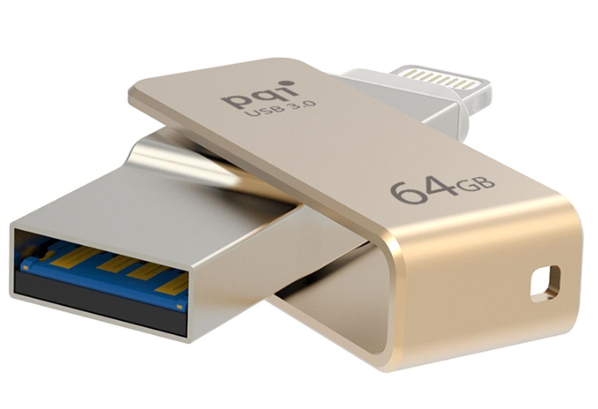 PQI iConnect mini 64GB, Gold флеш-накопитель 6I04-064GR2001