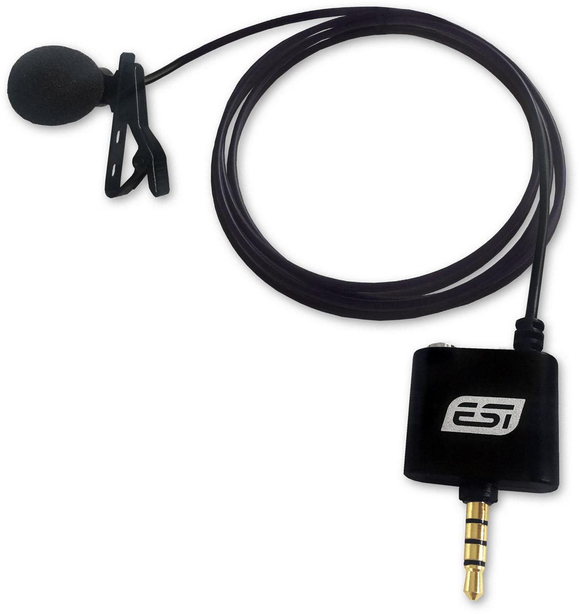 ESI cosMik Lav, Black микрофонcosMik LavESI cosMik Lav — миниатюрный конденсаторный петличный микрофон. Эта модель подключается напрямую к мобильным устройствам на базе iOS/Android и предназначена для записи подкастов, интервью, презентаций и лекций. При этом новинка обеспечивает более высокое качество звука, чем встроенный микрофон вашего девайса. Микрофон с круговой диаграммой направленности Длинный соединительный кабель с 4-контактным разъёмом TRRS Выход на наушники типа миниджек для мониторинга во время записи Поролоновая ветрозащита