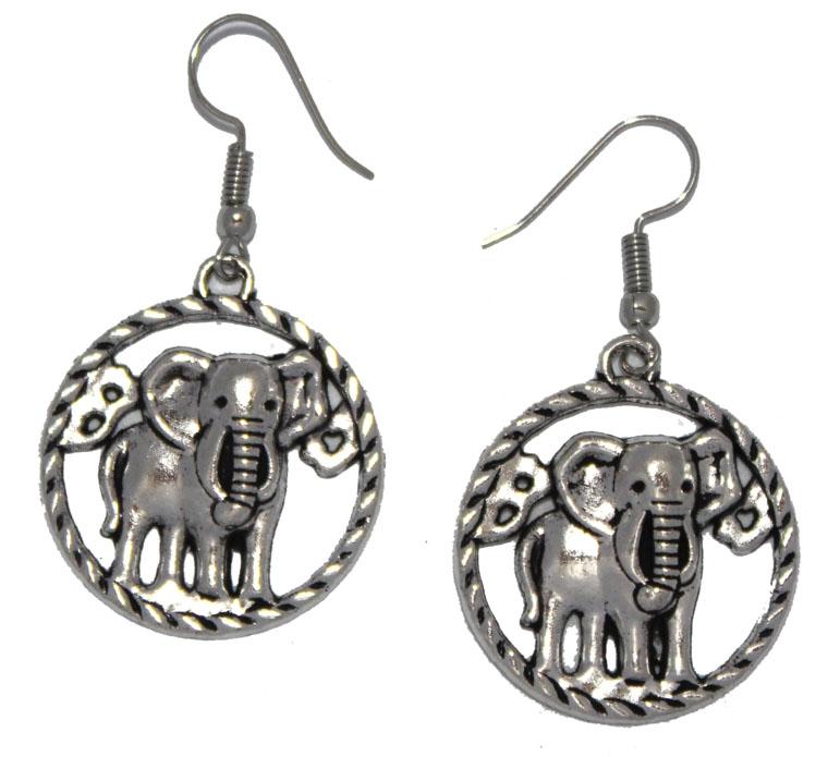 Серьги Ethnica Слоны, цвет: серебряный. 319025_1319025-серебряный-1Серьги Ethnica Слоны выполнены из металла в форме слоников. Изделие оснащено удобным замком-петлей.