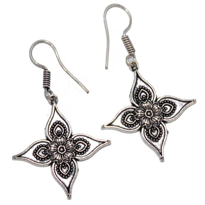 Серьги Ethnica Цветочки, цвет: серебряный. 319025_2319025-серебряный-2