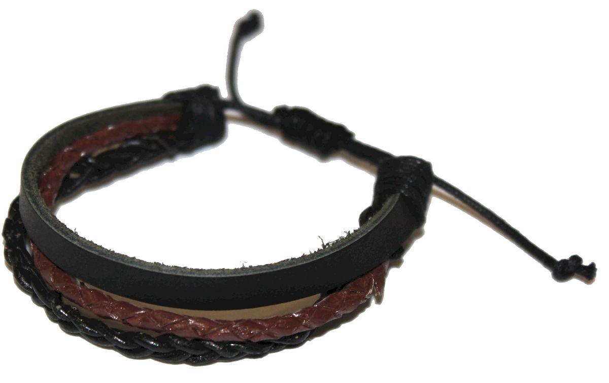 Браслет Ethnica, цвет: коричневый, черный. 342055342055-коричневый,черныйОригинальный браслет Ethnica выполнен из переплетенных между собой натуральных кожаных шнурков. Браслет регулируется по размеру при помощи скользящего замка.