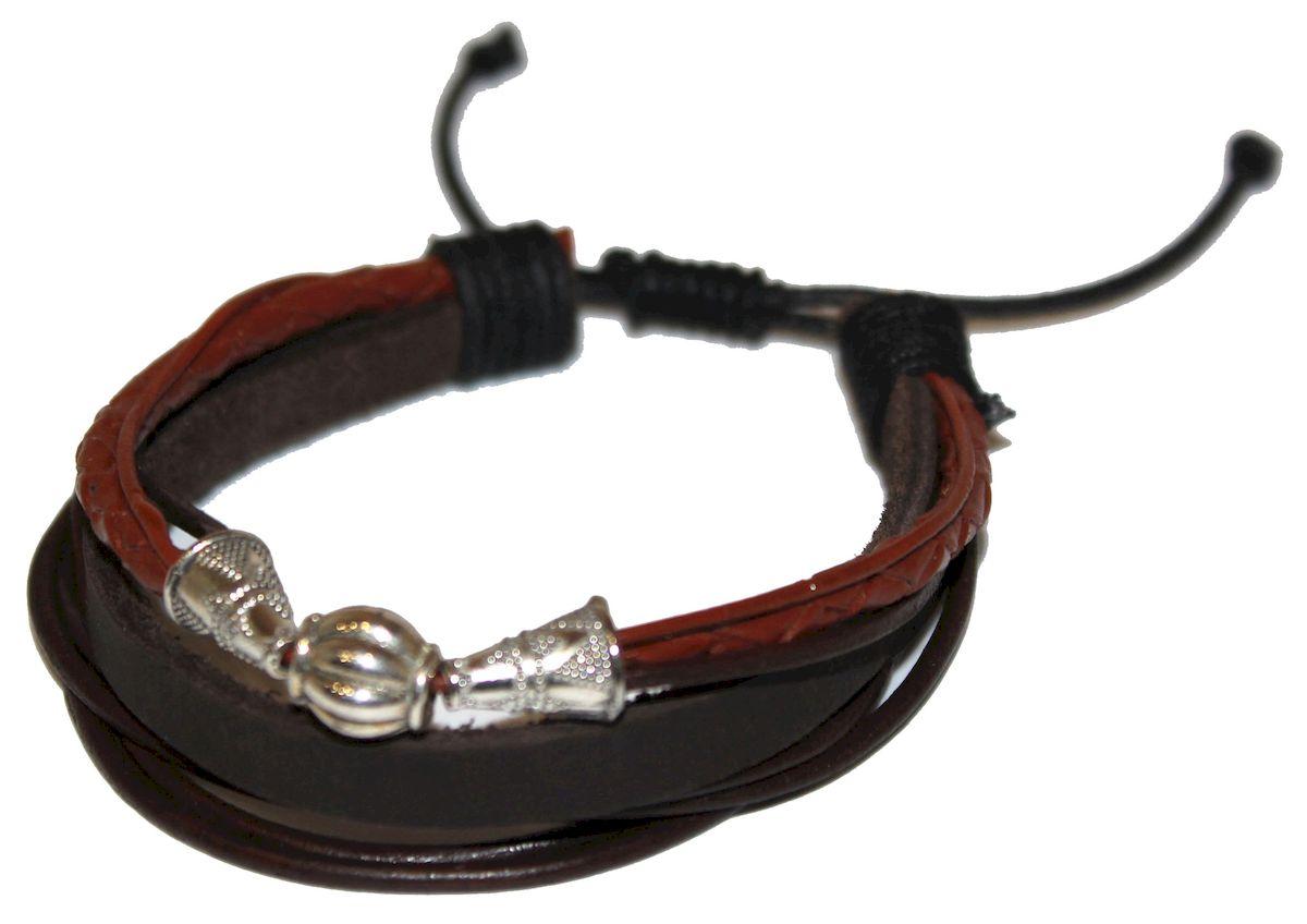Браслет Ethnica, цвет: черный, коричневый. 344070344070-черный,коричневыйОригинальный браслет Ethnica выполнен из переплетенных между собой натуральных кожаных шнурков с металлическим декором. Браслет регулируется по размеру при помощи скользящего замка.