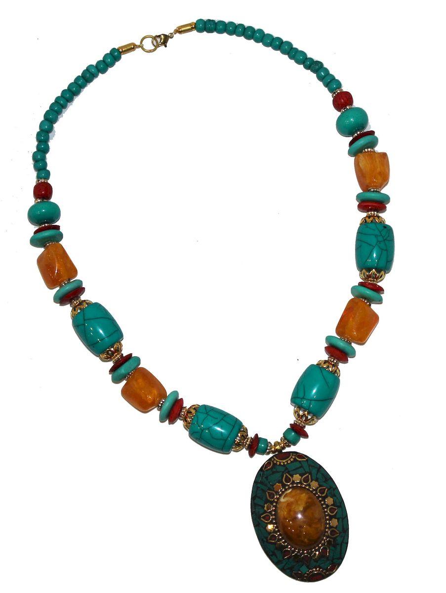 Ожерелье Ethnica, цвет: мультиколор. 348150_3348150-мультиколор-3Роскошное ожерелье от Ethnica оформлено бусинами разного диаметра и дополнено оригинальной подвеской. Изделие застегивается на замок-карабин.