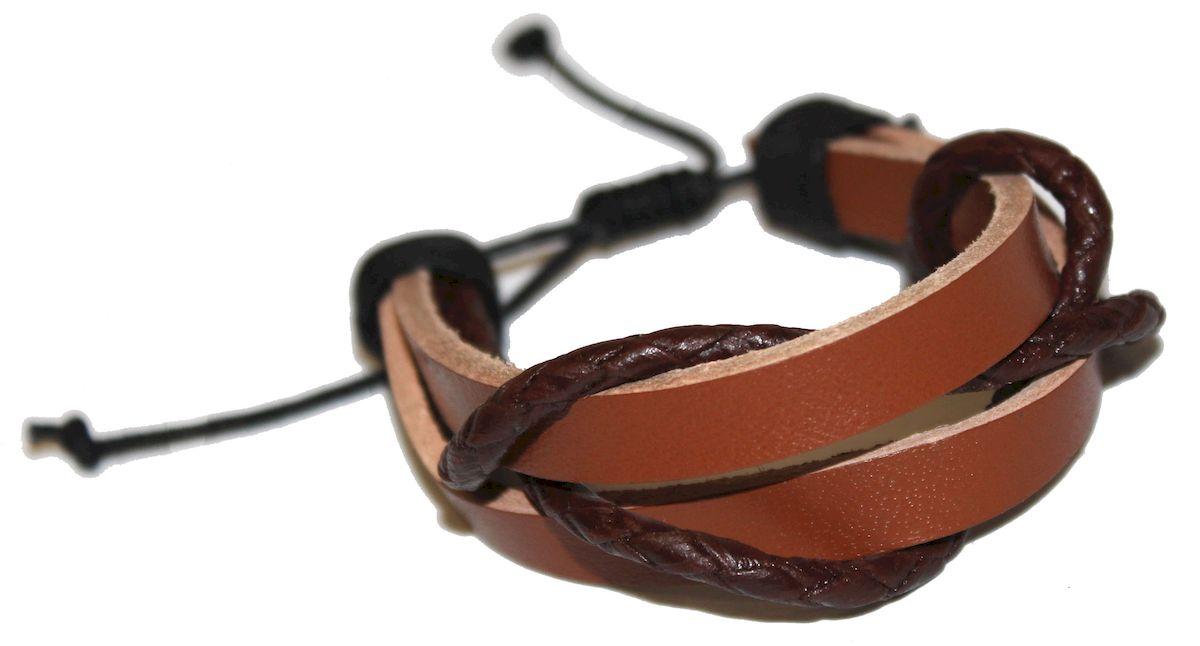 Браслет Ethnica, цвет: коричневый. 356055356055-коричневыйОригинальный браслет Ethnica выполнен из переплетенных между собой натуральных кожаных шнурков. Браслет регулируется по размеру при помощи скользящего замка.