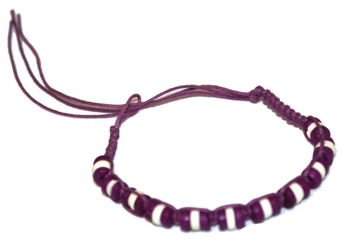 Браслет-фенечка Ethnica, цвет: фиолетовый. 338015338015-фиолетовыйОригинальный браслет-фенечка Ethnica выполнен из текстиля и костяных бусин. Браслет регулируется по размеру при помощи скользящего замка.