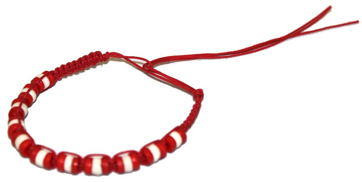 Браслет-фенечка Ethnica, цвет: красный. 338015338015-красныйОригинальный браслет-фенечка Ethnica выполнен из текстиля и костяных бусин. Браслет регулируется по размеру при помощи скользящего замка.