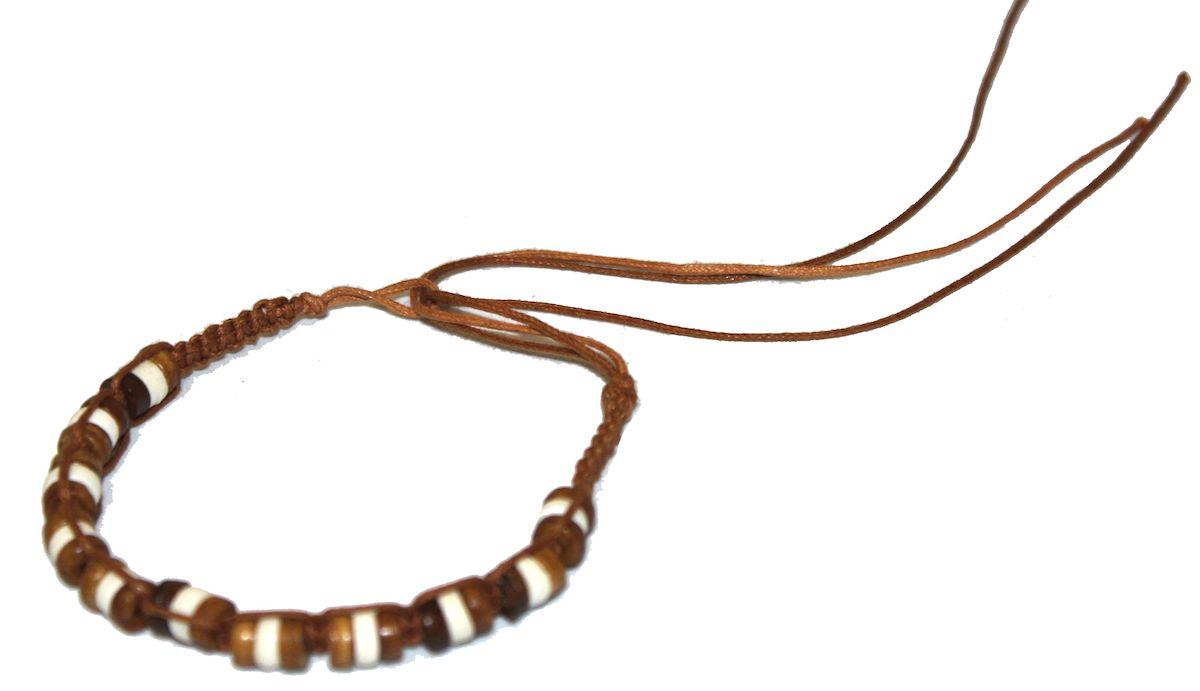 Браслет-фенечка Ethnica, цвет: коричневый. 338015338015-коричневыйОригинальный браслет-фенечка Ethnica выполнен из текстиля и костяных бусин. Браслет регулируется по размеру при помощи скользящего замка.