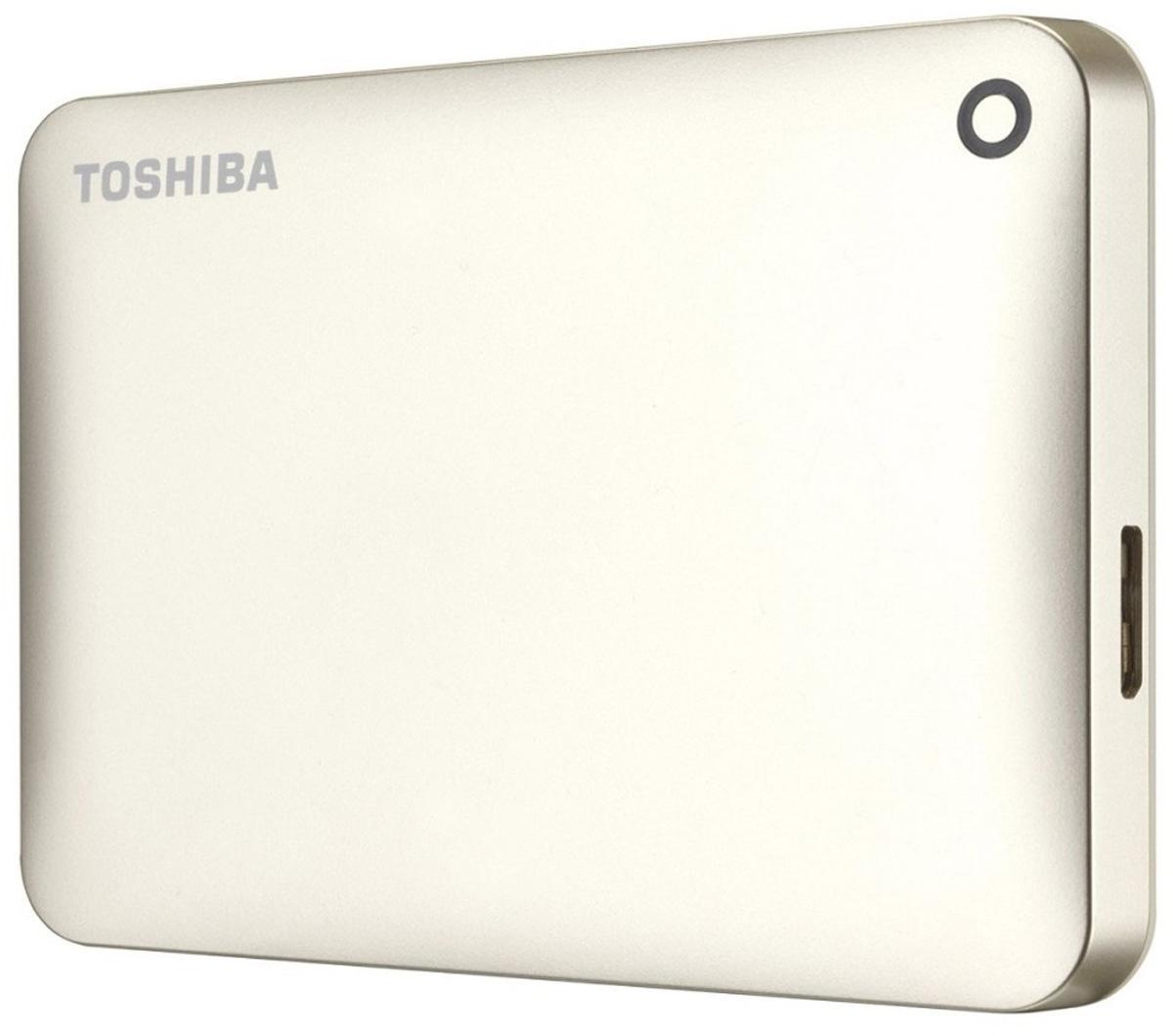 Toshiba Canvio Connect II 500GB, Gold внешний жесткий диск (HDTC805EC3AA)HDTC805EC3AAToshiba Canvio Connect II дает вам возможность быстро передавать файлы с интерфейсом USB 3.0 и хранить большое количество данных на внешнем жестком диске. Устройство полностью готово для работы с Microsoft Windows и не требует установки программного обеспечения, так что ничего не может быть удобнее для хранения всех ваших любимых файлов. В офисе или в дороге его классический дизайн будет всегда уместен. Более того, Toshiba Canvio Connect II позволяет подключаться также и к оборудованию с совместимостью USB 2.0. Этот внешний накопитель обеспечивает доступ к вашим файлам практически из любого места и с любого устройства. Toshiba Canvio Connect II может легко превратить ваш компьютер в облачный сервер благодаря предустановленному ПО для удаленного доступа (накопитель должен быть подключен к компьютеру и Wi-Fi). Помимо удаленного доступа это устройство предоставляет своему владельцу 10 ГБ дополнительного места в облачном сервисе. Программное обеспечение NTI...