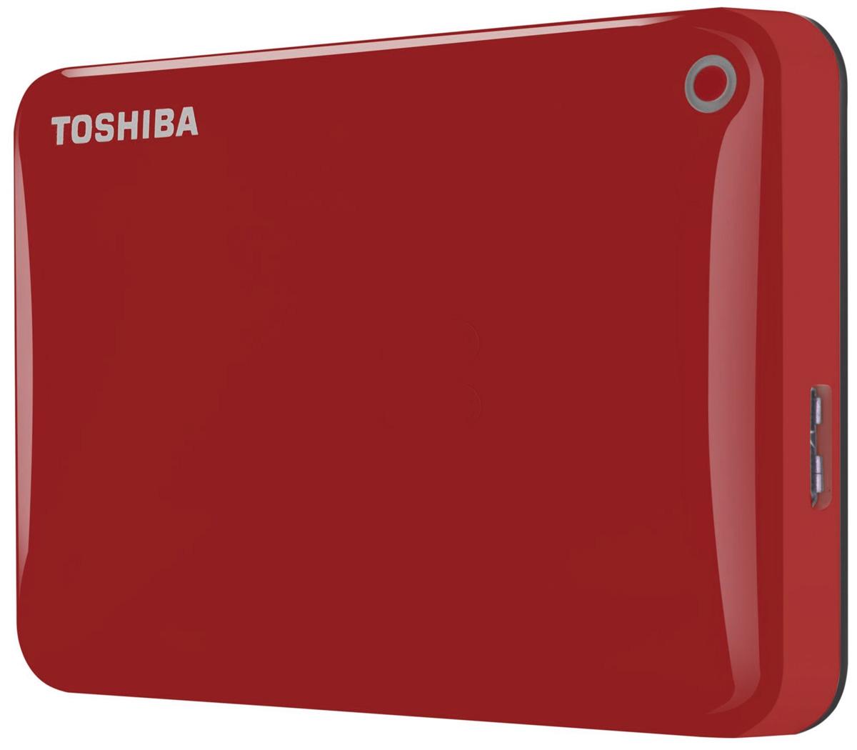 Toshiba Canvio Connect II 500GB, Red внешний жесткий диск (HDTC805ER3AA)HDTC805ER3AAToshiba Canvio Connect II дает вам возможность быстро передавать файлы с интерфейсом USB 3.0 и хранить большое количество данных на внешнем жестком диске. Устройство полностью готово для работы с Microsoft Windows и не требует установки программного обеспечения, так что ничего не может быть удобнее для хранения всех ваших любимых файлов. В офисе или в дороге его классический дизайн будет всегда уместен. Более того, Toshiba Canvio Connect II позволяет подключаться также и к оборудованию с совместимостью USB 2.0. Этот внешний накопитель обеспечивает доступ к вашим файлам практически из любого места и с любого устройства. Toshiba Canvio Connect II может легко превратить ваш компьютер в облачный сервер благодаря предустановленному ПО для удаленного доступа (накопитель должен быть подключен к компьютеру и Wi-Fi). Помимо удаленного доступа это устройство предоставляет своему владельцу 10 ГБ дополнительного места в облачном сервисе. Программное обеспечение NTI...