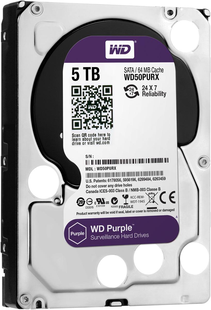 WD Purple 5TB внутренний жесткий диск (WD50PURX)WD50PURXЖесткие диски WD Purple специально разработаны для круглосуточной эксплуатации в системах видео наблюдения высокой четкости. Диски WD Purple поддерживают использование до восьми жестких дисков и до 32 камер, то есть они действительно оптимизированы для видеонаблюдения. В накопителях для жестких дисков WD Purple также реализована уникальная технология WD AIIFrame, благодаря которой вы можете уверенно создать систему обеспечения безопасности, полностью соответствующую потребностям вашего бизнеса. Благодаря технологии AIIFrame диски WD Purple улучшают потоковую передачу АТА для сокращения количества ошибок, вызывающих распад изображения и перебои в записи, которые могут возникать в системах видеонаблюдения. WD - мировой лидер в производстве жестких дисков. Жесткие диски WD Purple специально разработаны для круглосуточной работы при высоких температурах в системах круглосуточного видеонаблюдения, так что они обеспечивают надежное и качественное воспроизведение...