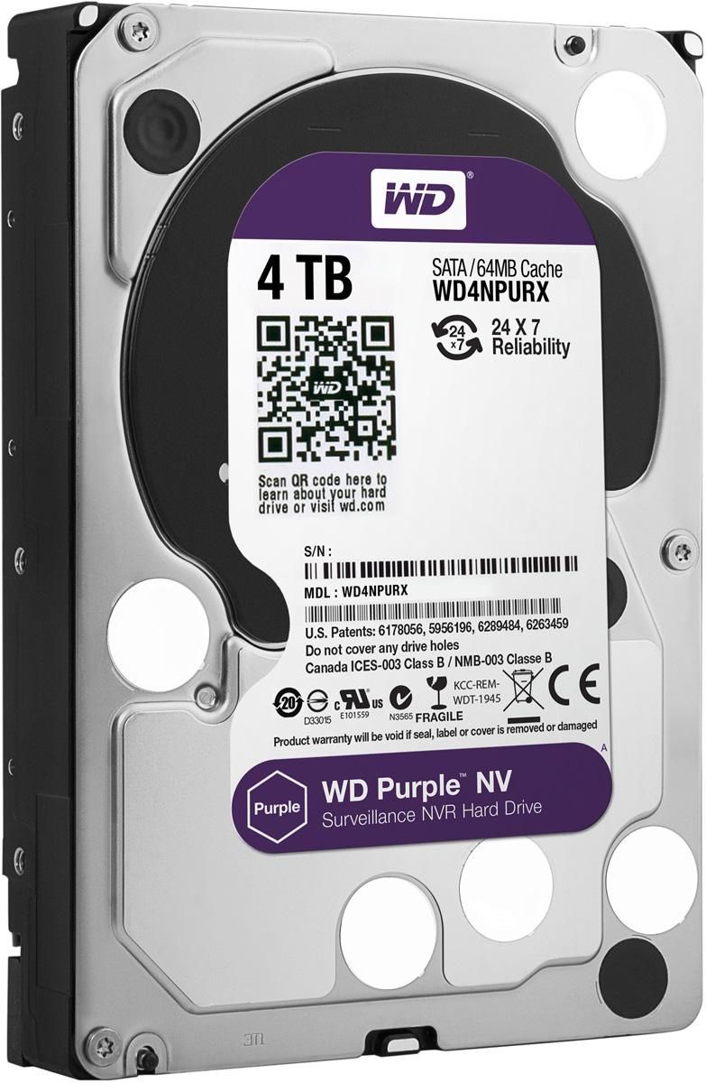 WD Purple NV 4TB внутренний жесткий диск (WD4NPURX)WD4NPURXЖесткие диски WD Purple специально разработаны для круглосуточной эксплуатации в системах видео наблюдения высокой четкости. Диски WD Purple поддерживают использование до восьми жестких дисков и до 32 камер, то есть они действительно оптимизированы для видеонаблюдения. В накопителях для жестких дисков WD Purple также реализована уникальная технология WD AIIFrame, благодаря которой вы можете уверенно создать систему обеспечения безопасности, полностью соответствующую потребностям вашего бизнеса. Благодаря технологии AIIFrame диски WD Purple улучшают потоковую передачу АТА для сокращения количества ошибок, вызывающих распад изображения и перебои в записи, которые могут возникать в системах видеонаблюдения. WD - мировой лидер в производстве жестких дисков. Жесткие диски WD Purple специально разработаны для круглосуточной работы при высоких температурах в системах круглосуточного видеонаблюдения, так что они обеспечивают надежное и качественное воспроизведение...
