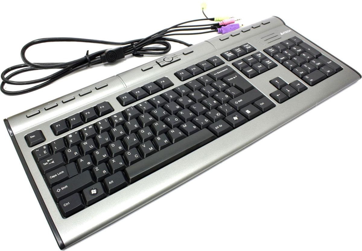 Клавиатура A4Tech KLS-7MUU, Silver Black94395Стильная плоская клавиатура A4Tech KLS-7MU – прекрасное дополнение к современным ЖК-мониторам. Благодаря пирамидальному расположению клавиш достигается правильное положение рук и локтей в процессе печати на клавиатуре. Сочетая элегантную форму и многофункциональность, проводная клавиатура обеспечивает высокую производительность, помогая рационально и экономно использовать рабочее пространство, не жертвуя удобством. Слим-клавиатура имеет 17 горячих клавиш, специальные разъемы для наушников и микрофона, и порт USB 2.0, что значительно облегчает работу со средствами мультимедиа и USB-устройствами. Особенности: Изящная конструкция Пирамидальная раскладка клавиш 17 горячих клавиш Встроенный порт USB 2.0 для внешних устройств (USB-удлинитель) Разъем для наушников и микрофона Тихий ноутбучный ход клавиш
