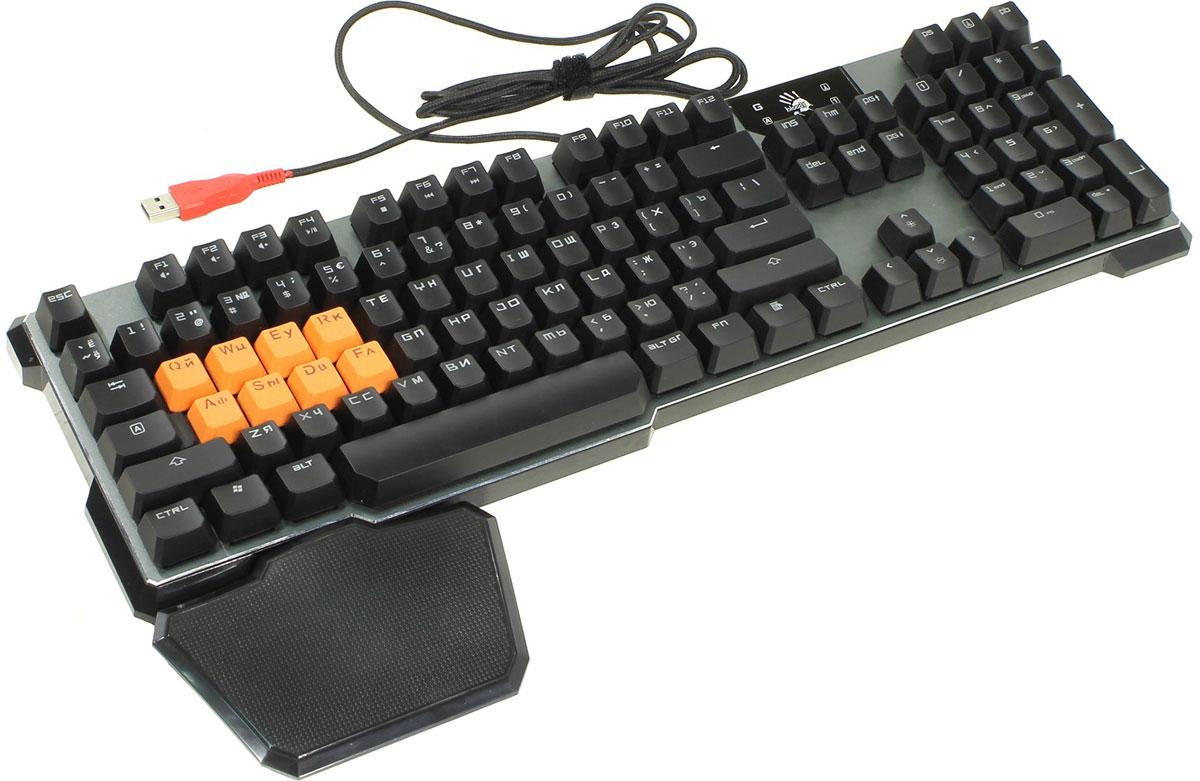 Игровая клавиатура A4Tech Bloody B720, Grey Black326283Игровая клавиатура A4Tech Bloody B720 с оптическими переключателями идеально подойдет для современных геймеров. Инновационная технология Light Strike использует оптические переключатели, обеспечивающие непревзойденное время отклика до 0.2 мс! При этом отсутствует громкий металлический звук при нажатии. Данная модель имеет ресурс 100 млн. нажатий, а также эффективную защиту от пыли и влаги. Оптические переключатели защищены 6 мм барьером, чтобы предотвратить попадание жидкости. Усиленный пробел Двойные винты + двойные пружины + компенсирующая планка предназначены для большей прочности. Благодаря технологии Dual-color injection клавиши никогда не сотрутся. Нескользящие резиновые ножки предотвращают вибрацию и скольжение клавиатуры во время игры. Игровой режим Gaming Mode Нажатие Fn + F8 деактивирует кнопки Windows для предотвращения случайного вылета из игровой сессии. Парящие клавиши с эргономичным...