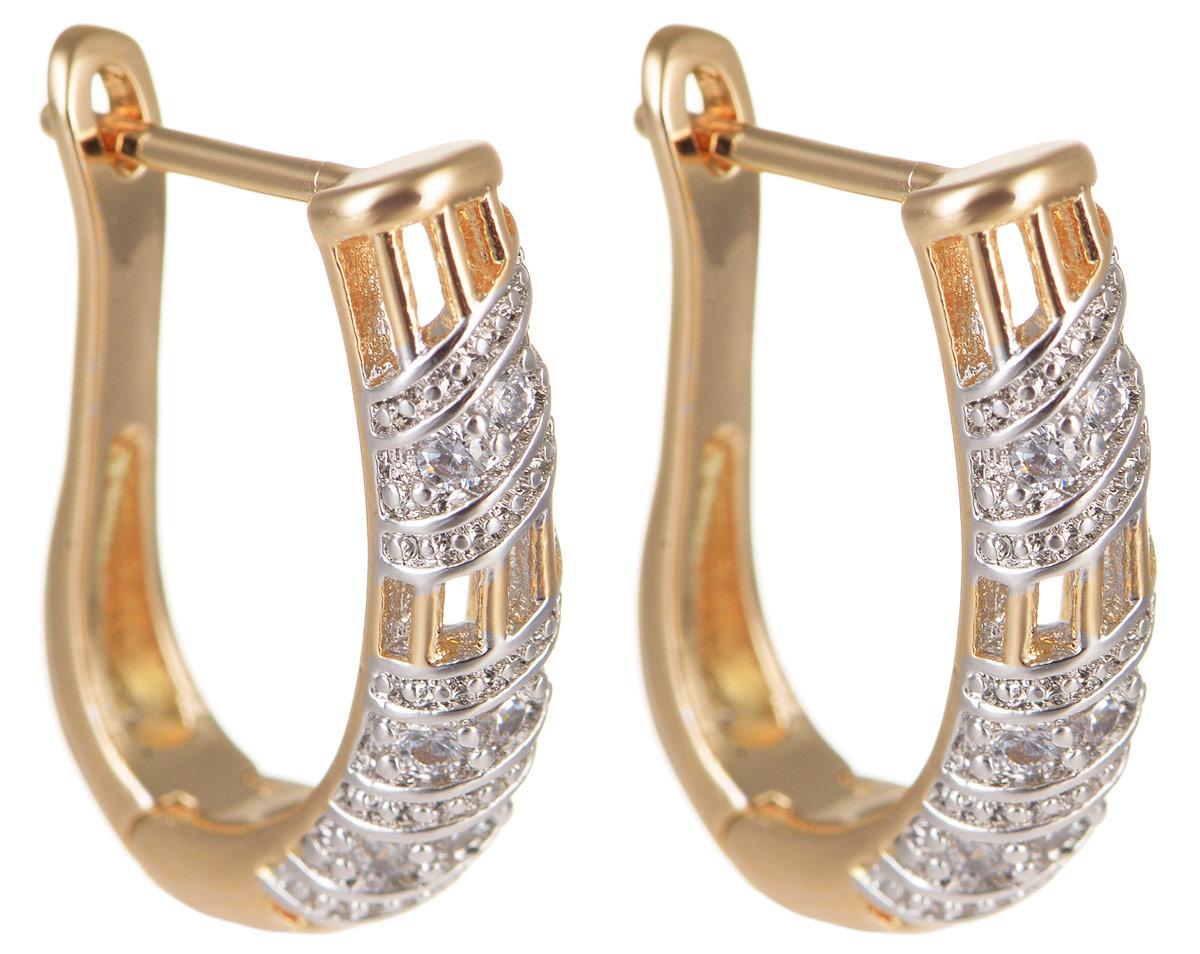 Серьги Taya, цвет: золотистый, серебристый. T-B-11682T-B-11682-EARR-GOLDМодные позолоченные серьги Taya изготовлены из бижутерного сплава и оформлены цирконами. Застегивается изделие с помощью английского замка. Оригинальные серьги внесут изюминку, как в повседневный, так и в выходной образ и позволят выделиться среди окружающих.