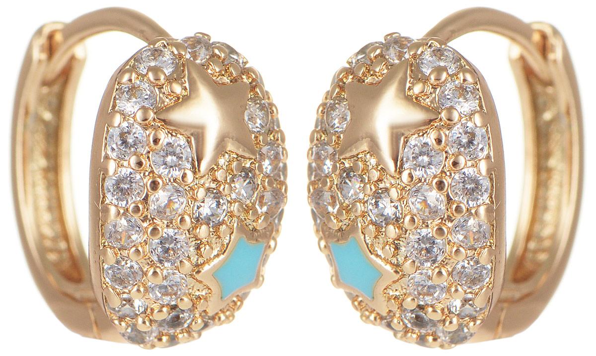 Серьги Taya, цвет: золотистый, голубой. T-B-11666T-B-11666-EARR-GOLDМодные серьги Taya выполнены из бижутерного сплава, дополнены цирконом и оформлены оригинальным дизайном со звездочками. Застегивается изделие с помощью английского замка. Такие серьги внесут изюминку, как в повседневный, так и в выходной образ и позволят выделиться среди окружающих.