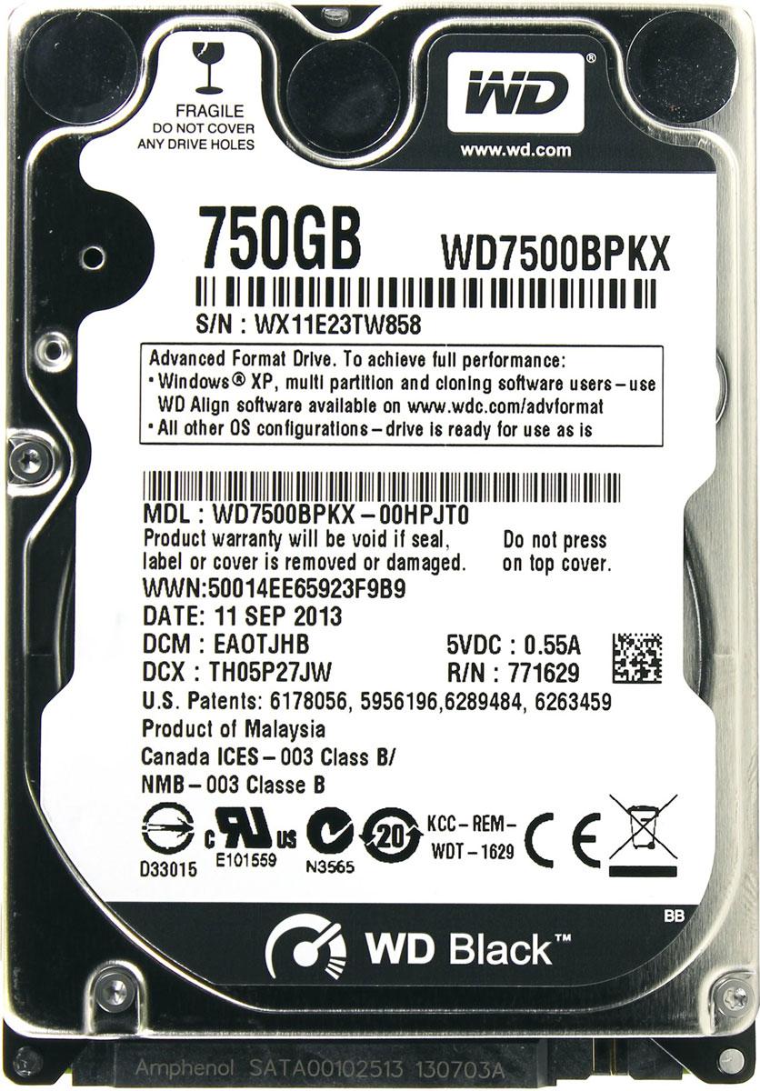 WD Scorpio Black 750GB внутренний жесткий диск (WD7500BPKX)WD7500BPKXWD Scorpio Black - внутренний жесткий диск для ноутбуков. Специальные разработки, повышающие быстродействие, обеспечивают скорость, которая вам нужна для таких требовательных задач, как редактирование фото и видео или сетевые игры. Благодаря высокому быстродействию, большой емкости, высокой надежности и применению самых современных технологий модель WD Black — оптимальный выбор для тех, кто требует только самого лучшего. Жесткие диски WD Black имеют скорость вращения 7200 об/мин, 16 МБ кэш-памяти и интерфейс SATA со скоростью передачи данных 6 Гб/с, что позволяет им демонстрировать максимальную скорость работы в сложных задачах для ноутбуков. Технология парковки головок NoTouch Записывающая головка ни при каких обстоятельствах не соприкасается с поверхностью диска, что способствует значительному уменьшению износа головок и дисков, а также более надежной защите накопителей в процессе их перевозки. ...