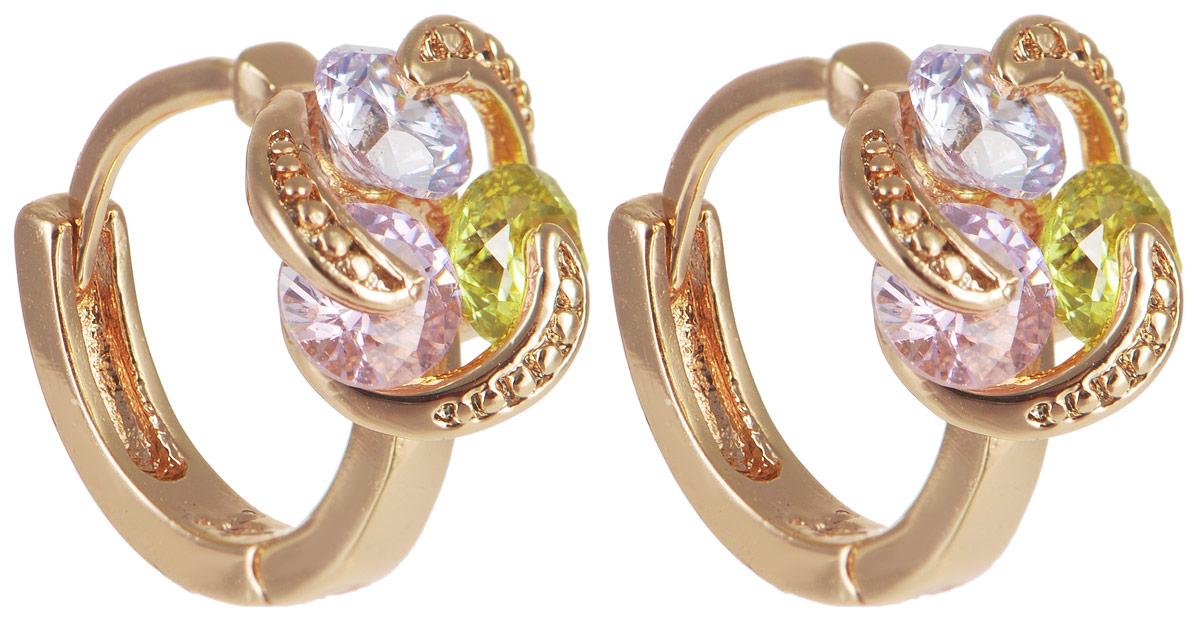 Серьги Taya, цвет: золотистый, розовый, зеленый. T-B-11695T-B-11695-EARR-GL.MULTIЭлегантные серьги Taya выполнены из бижутерного сплава, дополнены цирконами и оформлены оригинальным дизайном. Застегивается изделие с помощью замка-конго. Такие серьги внесут изюминку, как в повседневный, так и в выходной образ и позволят выделиться среди окружающих.