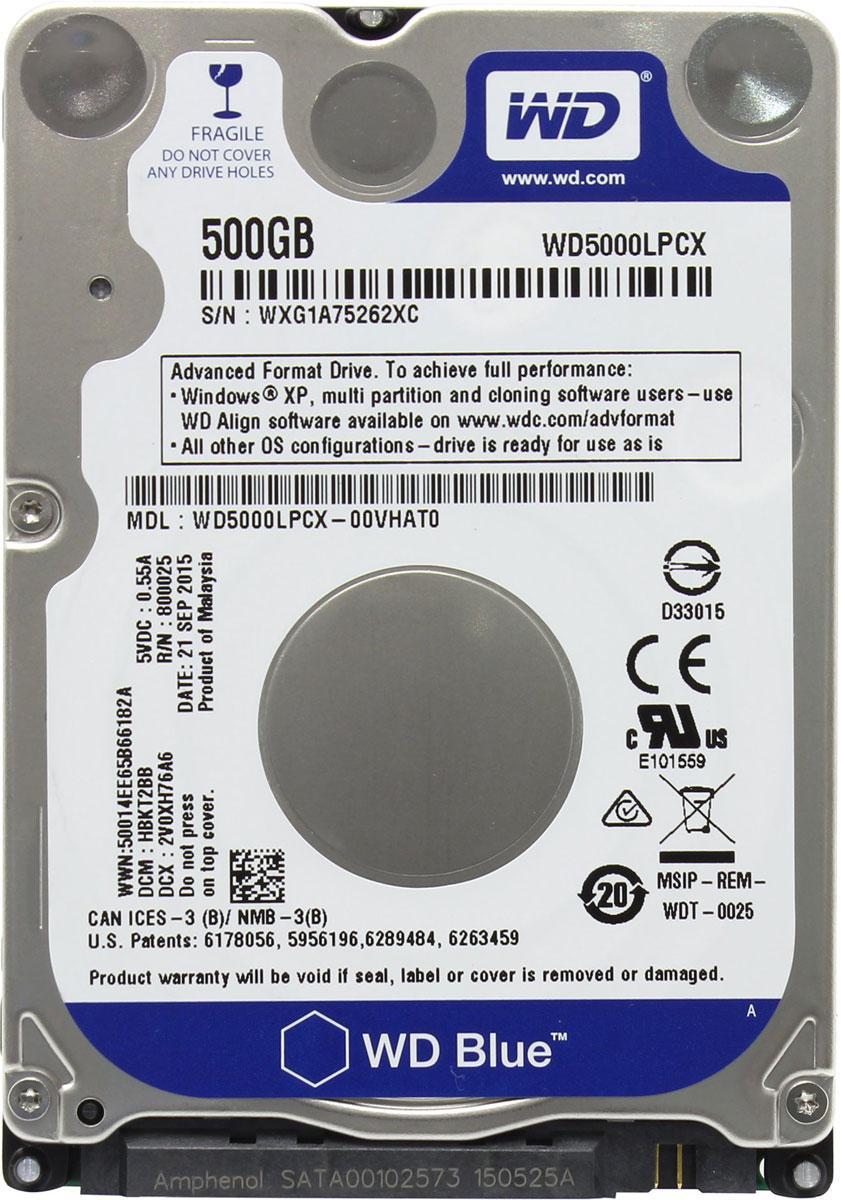 WD Blue 500GB внутренний жесткий диск (WD5000LPCX)WD5000LPCXНакопители WD Blue, соответствующие самым высоким требованиям WD в части качества и надежности, обладают вполне достаточной функциональностью и емкостью для решения повседневных задач в системах начального уровня. Поскольку накопители WD Blue дают вам широкий выбор вариантов емкости, объемов кэш-памяти, типоразмеров и интерфейсов, вы можете быть уверены в том, что обязательно найдется накопитель, превосходно подходящий для вашей системы начального уровня. Впрочем, не все жесткие диски созданы равными, и если какие-то из ваших систем требуют большего, то WD дает вам свободу выбора. Сверхтонкий жесткий диск WD Blue весит на 36% легче обычных накопителей для мобильных устройств. Созданная нами новая плата электроники также помогает уменьшить массу накопителя на 47% общего объема, при этом соблюдая все требования мобильности. В конструкции наших сверхтонких накопителей WD Blue нет компромиссов. В них используются более прочные алюминиевые...