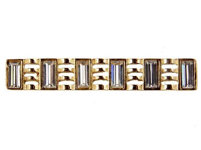 Брошь Валенсия №7. Бижутерный сплав, австрийские кристаллы. Франция конец ХХ векаОС27213Брошь Валенсия №7. Бижутерный сплав, австрийские кристаллы. Франция, конец ХХ века. Размер броши 5 х 1 см. Сохранность хорошая. Предмет не был в использовании. Оригинальная брошь изготовлена из бижутерного сплава золотого тона. Инкрустирована кристаллами прозрачного тона. Несомненно, эта брошь будет прекрасным дополнением вашей коллекции украшений.