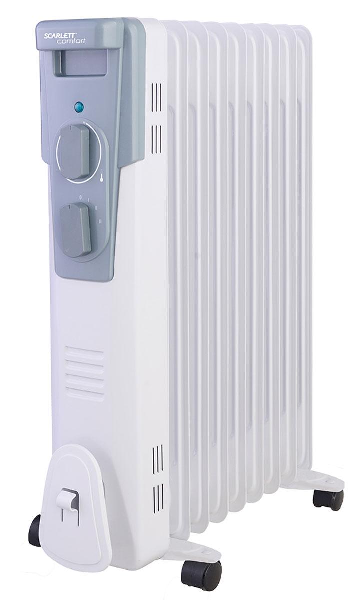 Scarlett SC 41.2009 масляный электрический радиаторSC 41.2009Бытовой масляный радиатор Scarlett SC 41.2009 поможет вам решить задачу по созданию уютной и комфортной температуры в вашем доме. В радиаторе используется высококачественный термостат на основе медного сплава. Ступенчатое переключение мощности нагрева дает возможность регулировать температуру. Также в радиаторе используется высокоэффективное масло, что приводит к быстрому нагреву. При работе радиатор не сжигает кислород, не сушит воздух. Благодаря простоте установки устройство подходит как для дома так и для офиса.