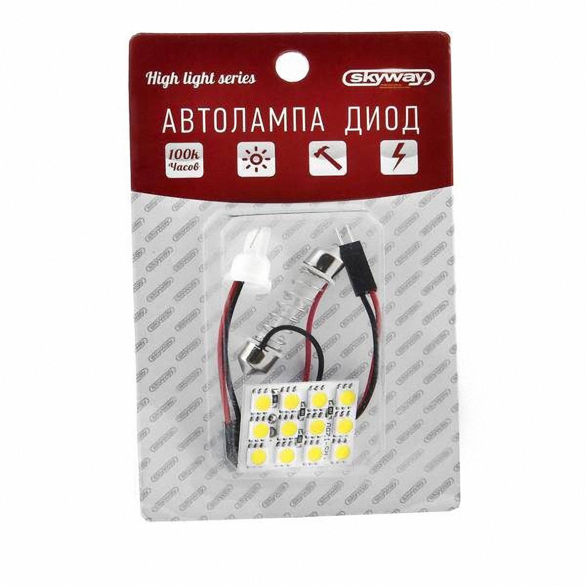 Skyway Панель светодиодная 12V 12 SMD диодов Белая (блистер). S03301001S03301001Светодиодные панели имеют значительно больший срок службы, потребляют намного меньше электроэнергии и выдают свет значительно мягче и ровнее, чем те же люминесцентные лампы, не говоря уже о лампах накаливания. Они очень удобны, легко вставляются и достаточно практичны.