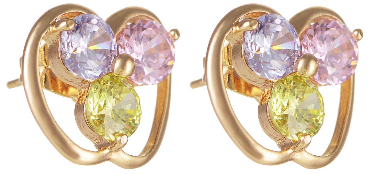 Серьги Taya, цвет: золотистый, голубой, розовый, зеленый. T-B-11696T-B-11696-EARR-GL.MULTIМодные позолоченные серьги-гвоздики Taya изготовлены из бижутерного сплава и оформлены цирконами. Изделие застегивается с помощью замка-гвоздика и металлической заглушки. Оригинальные серьги внесут изюминку, как в повседневный, так и в выходной образ и позволят выделиться среди окружающих.
