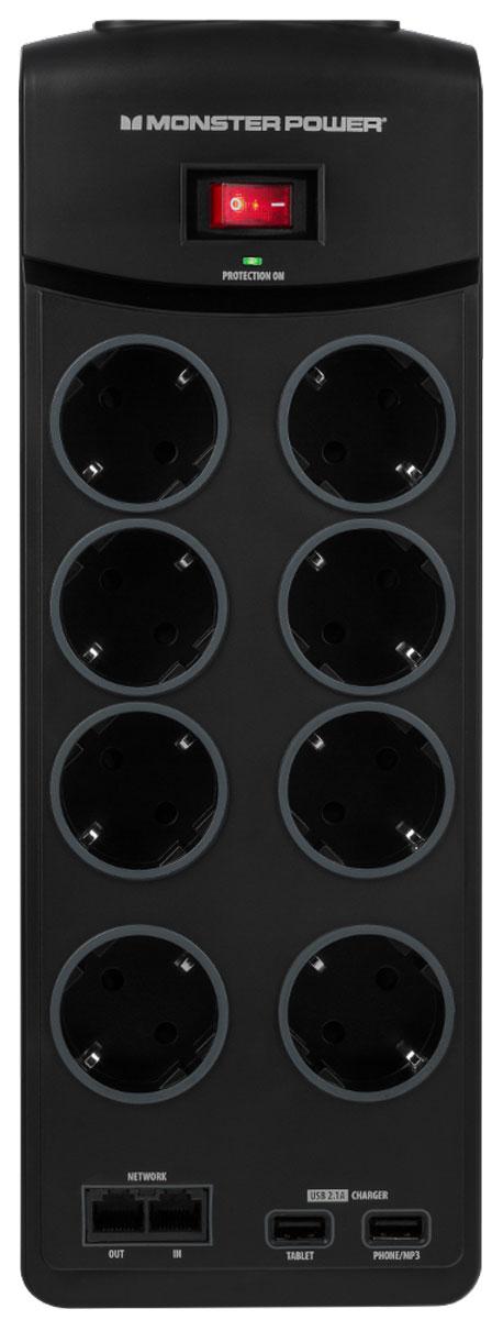Monster Core Power 800 USB сетевой фильтр на 8 розеток121860-00Перепады напряжения могут иметь очень серьёзные последствия. В результате может быть повреждена или выведена из строя не только ваша домашняя электроника, но и нанесён вред вашему жилью. Обычный сетевой фильтр не может предотвратить пожар. Более того - он может стать его причиной. Решением становится сетевой фильтр Monster Core Power. Более безопасная защита питания: Вы хотите позаботиться о безопасности вашего оборудования? Обычная гроза может вызывать сильные скачки напряжения,способные нанести вред вашей электронике. Даже если ваш сетевой фильтр оснащен варисторами, прошедшими UL-сертифицировакацию, он всё ещё может загореться. Как это работает? Во время скачка напряжения избыток энергии поглощается металлооксидным варистором (MOV). Этот компонент поглощает избыточную энергию и выпускает её в виде тепла. Чрезмерное рассеивание энергии может привести к искрам и возгоранию. Monster предлагает более безопасную защиту питания...
