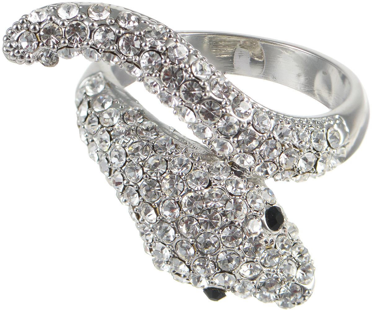 Кольцо Taya, цвет: серебристый. T-B-8103. Размер 19T-B-8103Стильное кольцо от Taya изготовлено из бижутерного сплава на основе латуни с гальваническим покрытием из родия. Декоративная часть кольца выполнена в виде оригинальной змеи, украшенной стразами, выполненными из цирконов. Такое модное кольцо идеально дополнит ваш образ и подчеркнет ваш изысканный вкус.