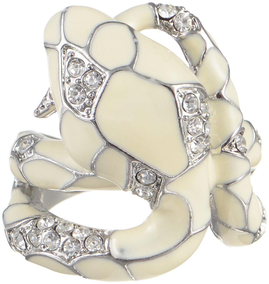 Кольцо женское Taya, цвет: белый, серебряный. T-B-8101T-B-8101-RING-WHITEОригинальное кольцо Taya выполнено из гипоаллергенного сплава на основе латуни. Оформлено модель в виде змеи, дополнено стразами и эмалью. Такое кольцо это блестящее завершение вашего неповторимого и смелого образа и отличный подарок для ценительницы необычных украшений!